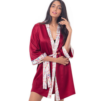 5e79c5c851 PrettySecrets Satin Kimono Wrap - Red at Nykaa.com