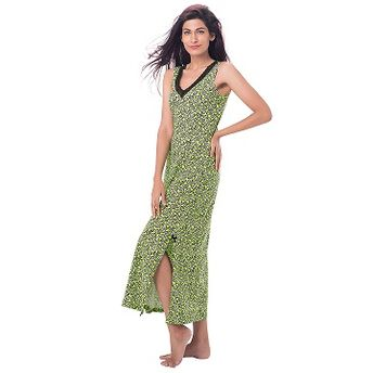 551e8b4ad4 Buy PrettySecrets Cotton Lace-Trim Sleeveless Nightdress - Green ...