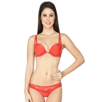 562f5a922e S.O.I.E Double Strap Push Up Bra And Panty Set - Red at Nykaa.com