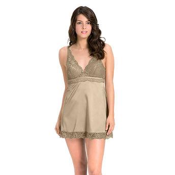 Amante Adore Satin Lace Babydoll - Nude (XL) at Nykaa.com 8b39c1fd727