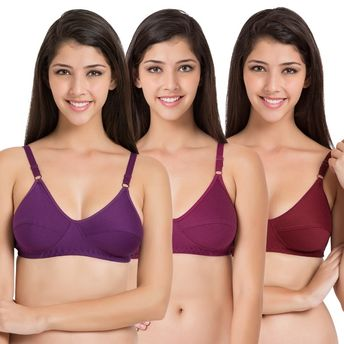 42b550337b231 Souminie Soft Fit Cotton Multicolor Non Padded Bra - Pack of 3 at ...