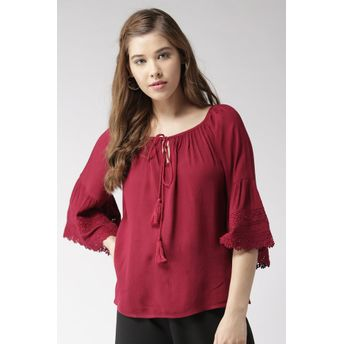 558a925f5486b6 20Dresses Maroon The Bohemian Summer Top at Nykaa.com