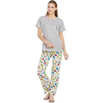 8d0a2a1f5e5447 Velvet by night Grey Solid Hosiery Round Neck Top   Pajama Set for ...