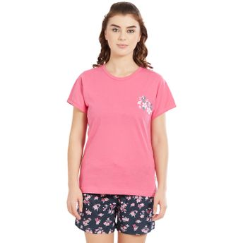64fe52b0c96b Velvet by night Pink Solid Round Neck Top   Shorts for Women at ...