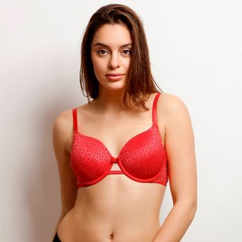 1983dee73a44c Zivame Moroccan Lace Lightly Padded Underwired T-Shirt Bra - Red at ...