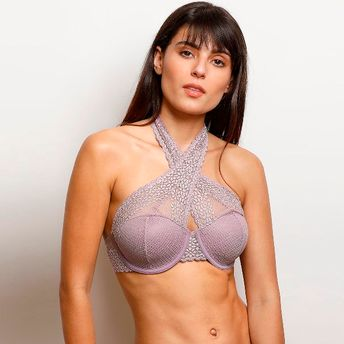 6e8e18858ff57 Zivame Moroccan Lace Halter Neck Wired Bralette - Purple at Nykaa.com