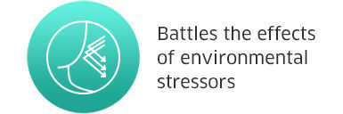 Battles the effects of environmental stressors