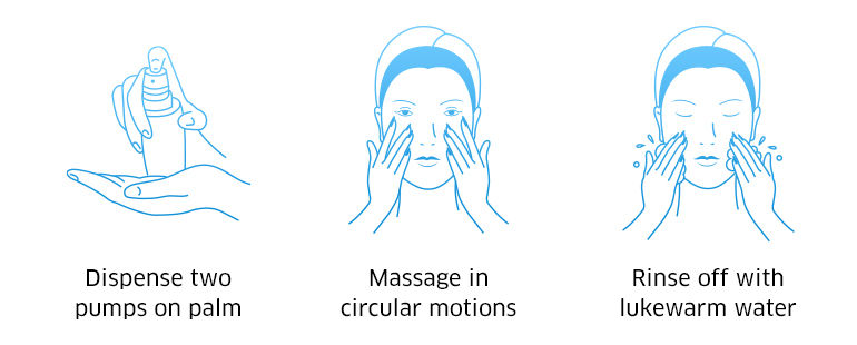 Dispense two pumps on palm, Massage in circular motions, rinse off with lukewarm water