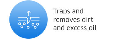 Traps and removes dirt and excess oil