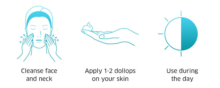 Cleanse face and neck, apply 1-2 dollops on your skin, use during the day
